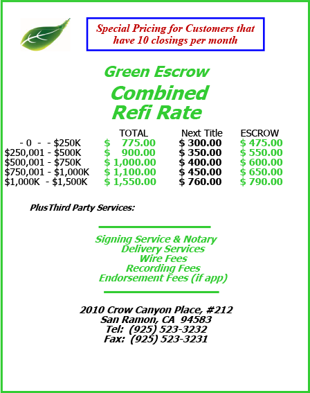 Green Escrow Combined refi Rate 2018